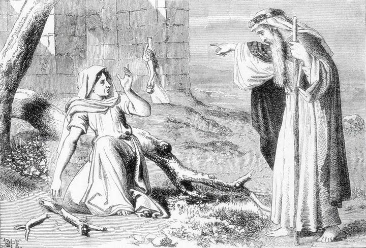 Elijah And The Widow Woman http://grace.allpurposeguru.com/2010/08/elijah-meets-a-prosperous-widow/