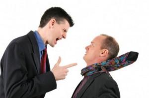 Men arguing. rebellious church