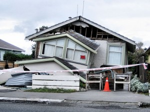 Earthquake damaged house