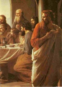 Judas Iscariot (right), retiring from the Last Supper, painting by Carl Bloch, late 19th century
