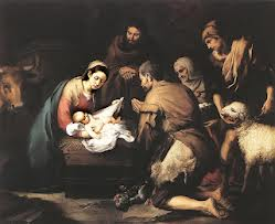Adoration of the Shepherds / Murillo. Simeon and Anna see Jesus