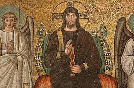 Christ enthroned mosaic. spiritual poverty