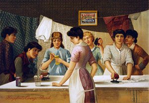 Kingsford's Oswego Starch. Advertisement showing seven women around table ironing. Lithograph by Julius Bien & Co., New York, c. 1885.
