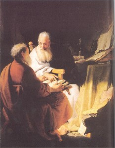 Two Old Men Disputing / Rembrandt, 1628. The two old men are often interpreted as Peter and Paul