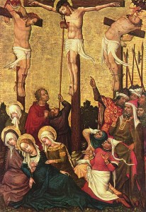 Crucifixion by Hans von Tübingen showing the good thief on the right side of Christ, and the impenitent thief on the left side of Christ with a devil.