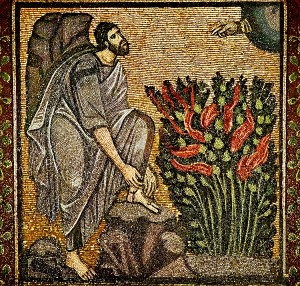 Moses and the burning bush mosaic