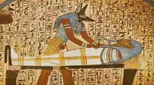 Egyptian god and mummy