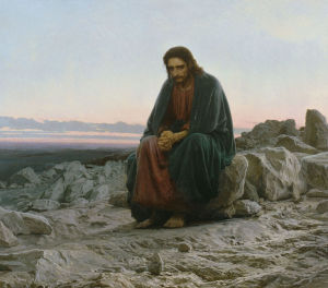 esus at prayer in the desert