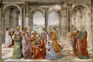 Zechariah Writes Down the Name of His Son / Domenico Ghirlandaio (1490) Fresco in the Tornabuoni Chapel, Florence
