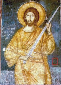 Jesus with sword, rebellious church