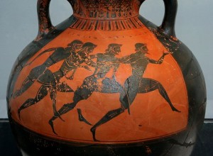 Ancient Greeks running a race. Finishing well