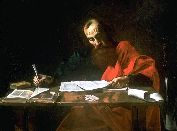 Paul writing epistles. humility
