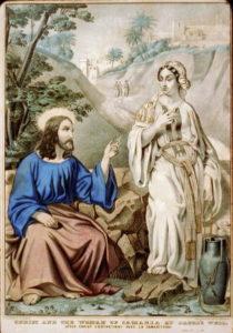 Jesus and Samaritan woman. living water