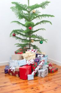 Christmas tree with gifts. God's Christmas gift